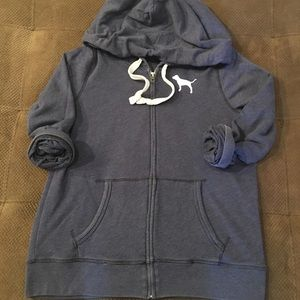 Victoria's Secret pink navy zip up hoodie logo